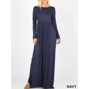 ✂️NAVY MAXI DRESS WITH SIDE POCKETS